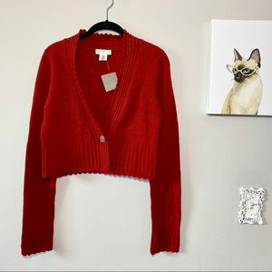 Sleeping on Snow Anthropologie Cropped Red Sweater
